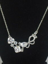 Betsey Johnson Silvertone HOLIDAY CZ Pave' Bow Heart Frontal Necklace $50
