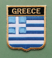 NATIONAL FLAG COUNTRY SHIELD SEW ON / IRON ON EMBROIDERED PATCH:- GREECE