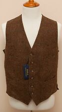 NEW Polo Ralph Lauren Wool Brown Herringbone Check Slim Vest 40R Small