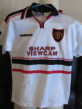 Manchester United White Away Shirt - 1997-99 - 12-13 yrs-Taplin 7 on back-Treble