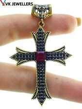 925 STERLING SILVER CROSS TURKISH HANDMADE JEWELRY RUBY TOPAZ PENDANT P3134
