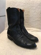 Lucchese Black Smooth Ostrich Leather Western Cowboy Roper Boots Mens Size 9.5D