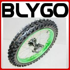 "GREEN 15mm Axle 60/100- 14"" Inch Front Wheel Rim Knobby Tyre PIT PRO Dirt Bike"