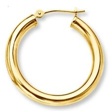 "13.5mm 9/16"" Mens Single Hoop Earring with Secure Snap Bar Real 14K Yellow Gold"