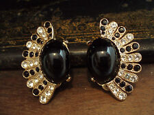 Vintage Large Black Jet and Crystal Fan Clip-On Earrings