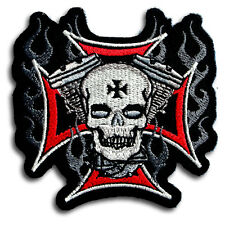 Iron Cross Skull Engine Patch Iron on Harley Chopper Biker Rider Motorcycle Fire