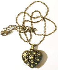 pendentif chaine bijou rétro métal couleur bronze coeur 3D strass * 4932