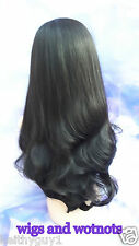 "Ladies 3/4 Wig Fall Clip In Synthetic black color 4# Hair Piece 28"" Half Wig"