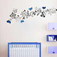 Butterfly Flowers  Vine Wall Stickers Floral Butterfly Bedroom Kids Decal Art