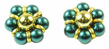 KITSCH LADIES VINTAGE STYLE CLIP ON EARRINGS,GOLD TONE/TURQUIOSE FAUX PEARL(ZX2)