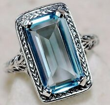 7CT Aquamarine 925 Solid Sterling Silver Edwardian Style Ring Sz 8, F5-2
