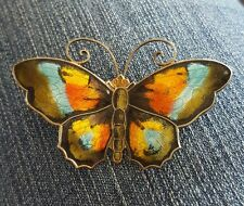 Vintage Fully Enameled Sterling Silver Butterfly By D-A David Anderson Norway