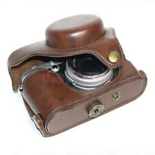 Coffee PU Leather Bag Case Cover Pouch w. Strap for Fuji Fujifilm FinePix X100s
