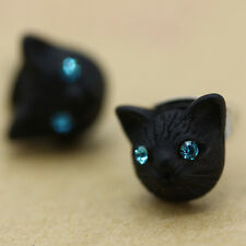 Black Cat Design Shiny Crystal Ear Studs  Fashion Earrings Women Girls Jewelry