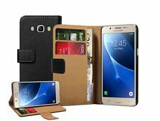 Wallet BLACK Leather Flip Case Cover Pouch Saver For Samsung Galaxy J5 (2016)