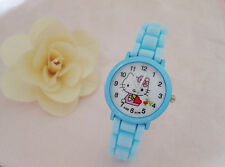 Kids Girls Hello Kitty Sky Blue Wrist Watch Analog Silicone Strap Water Proof
