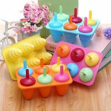 6 Cell Pop Popsicle Maker Lolly Mould Tray Kitchen Frozen DIY Ice Cream Mold