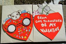 2 Vintage Valentines from the 1950s Both Folded For Design