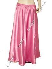 Belly Dance Black Satin Half Circle Skirt Costume Tribal Elastic Jupe 27 Colors