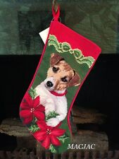 Jack Russell Terrier Dog Needlepoint Christmas Stocking NWT