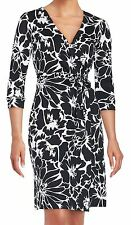 DVF New Julian Two Dahlia black cotton/silk jersey wrap dress NWT 2 $398.00