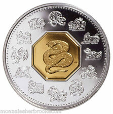 2001 Canada $15 Dollars Sterling Silver Gold-Plated - Snake - Lunar Coin - E889