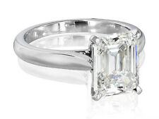 Real 1.75 Ct Emerald Cut Diamond Engagement Solitaire Ring F,VS1 GIA Platinum