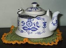 """6 1/2"""" White Tea Pot With Blue Floral Design"""