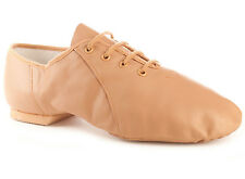 Bloch S0405G Girl's Size 12 Medium Tan Lace Up Jazz Soft Jazz Dance Shoes