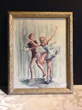 Vintage 50's-60's BALLET DANCERS Art Print by Marchaude -Signed & Framed Picture