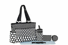 SoHo Collection, Classic Black & White Dot 7 pieces Diaper Tote Bag Set (Black &