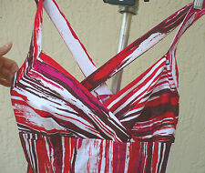 CALVIN KLEIN SIZE 8 M BOLD RED ABSTRACT SUMMER SUN DRESS CROSSOVER STRAPPY WOMEN