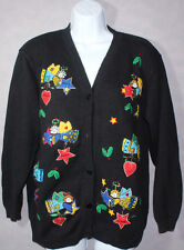 Womens QUACKER FACTORY Ugly Tacky CHRISTMAS SWEATER With ANGELS Cardigan MEDIUM