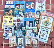 Lot 22 ANIMAL Cross Stitch Crewel Patterns Magazines Kits Cats Dogs Bears Horses