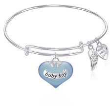 BABY BOY Expandable Bangle Bracelet With Angel Wings Charm GIFT BOXED