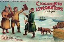 Riproduzione Cartolina Pubblicitaria 1920 Cioccolato Esploratore Venchi Torino
