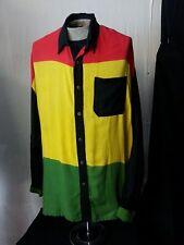 VTG 90s OK MIKE Men Shirt Rasta Reggae Button Dwn Lg Slv Multi-Color ONE SIZE