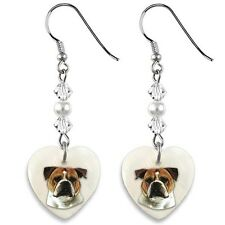 Old English Bulldog 925 Silver Heart Mother Of Pearl Dangle Earrings EP46