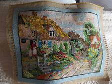 Vintage hand worked tapestry cushion front or picture country house
