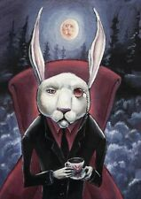 �� Bunny Rabbit Creepy Costume Vampire Halloween Alice Wonderland ACEO Print ��