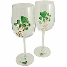 55th Wedding (Emerald) Anniversary Pair of Wine Glasses (Flower)