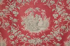 Antique French country toile fabric red + gray block printed