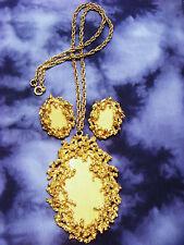 Vintage Gold Tone NAPIER Runway Modernist Brutalist necklace earrings set