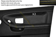 YELLOW STITCH 2X FRONT DOOR CARD LEATHER COVERS FITS BMW E36 SALOON SEDAN 91-98