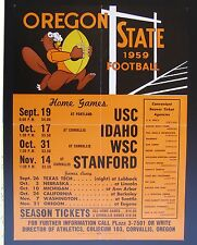 1959  Oregon State College Football Schedule Poster