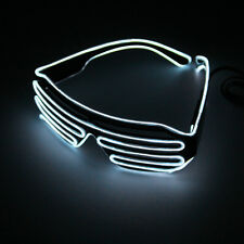 Hot Wire Neon LED Light Up Shutter Shaped Glasses for Costume Party Red+Blue  FE