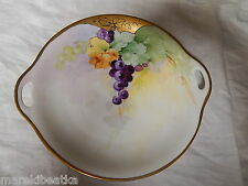 ANTIQUE  BAVARIA GERMANY HAND PAINTED  HANDLED CAKE PLATE, GRAPES DESIGN