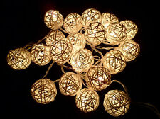 UK SELLER 20 LED Battery Operated Wicker Rattan Balls Fairy Lights Warm White