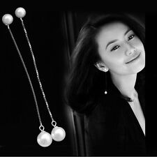 Pearl Drop Dangle Silver Beads Long Chain Threader Earrings Fashion A+
