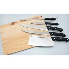 6 PC KNIFE SET WITH WOODEN CUTTING CHOPPING BOARD KITCHEN TOOL SET